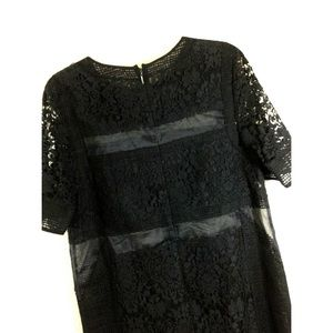 Rebecca Taylor Black Sheer Lace Dress Size 6